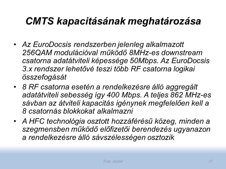 CMTS kapacitásának meghatározása Az EuroDocsis rendszerben jelenleg alkalmazott 256QAM modulációval működő 8MHz-es downstream csatorna adatátviteli ké