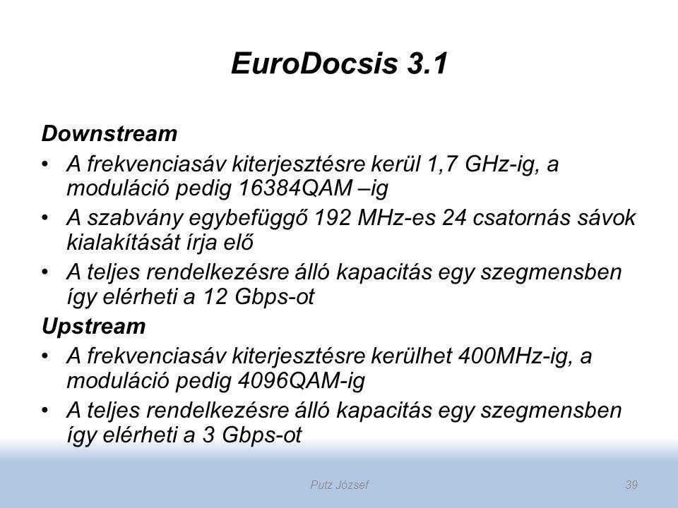 EuroDocsis 3.1 Downstream A frekvenciasáv kiterjesztésre kerül 1,7 GHz-ig, a moduláció pedig 16384QAM –ig A szabvány egybefüggő 192 MHz-es 24 csatorná
