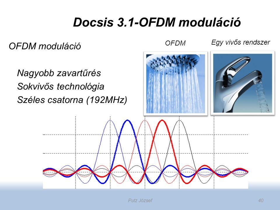 Docsis 3.1-OFDM moduláció OFDM moduláció Nagyobb zavartűrés Sokvivős technológia Széles csatorna (192MHz) OFDM Egy vivős rendszer Putz József40