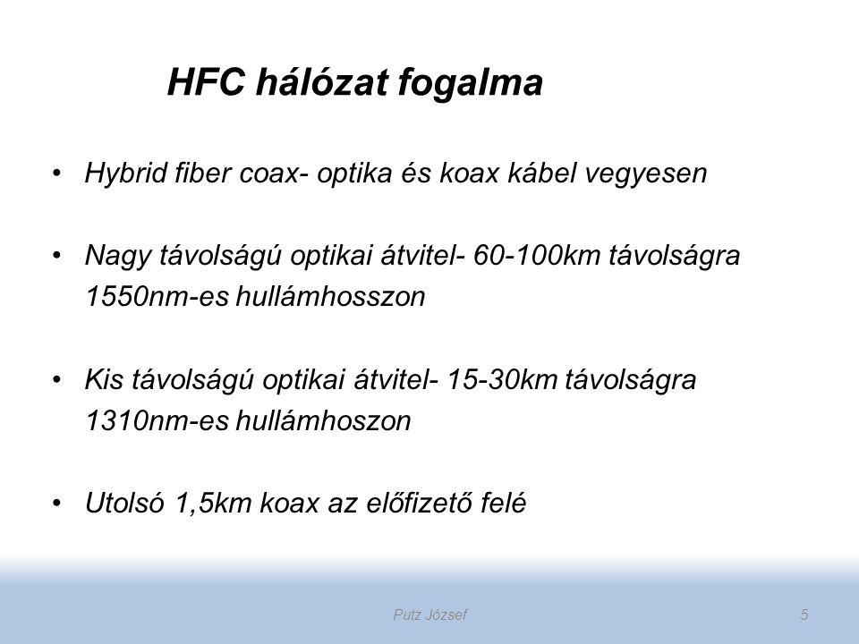Hybrid fiber coax- optika és koax kábel vegyesen Nagy távolságú optikai átvitel- 60-100km távolságra 1550nm-es hullámhosszon Kis távolságú optikai átv