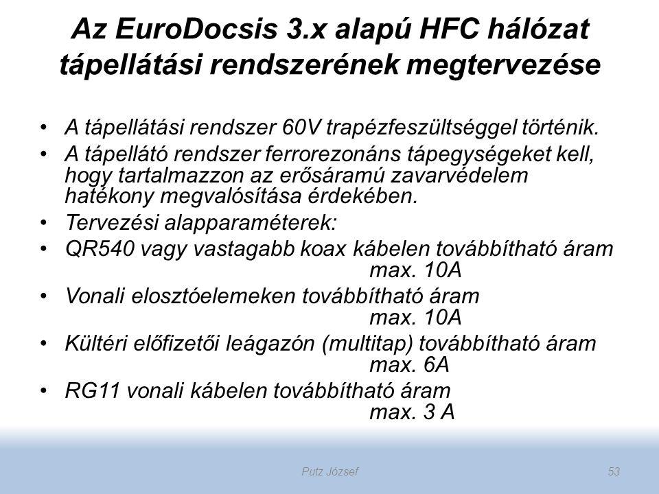 Az EuroDocsis 3.x alapú HFC hálózat tápellátási rendszerének megtervezése A tápellátási rendszer 60V trapézfeszültséggel történik. A tápellátó rendsze