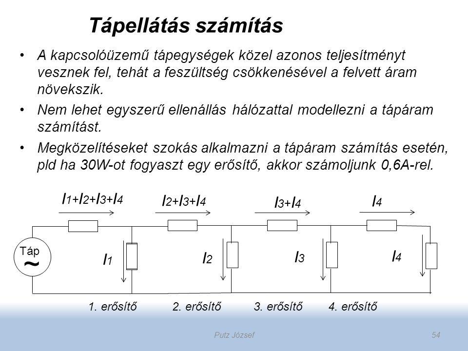 Táp ~ 1. erősítő 2. erősítő 3. erősítő 4. erősítő I 1+ I 2+ I 3+ I 4 I1I1 I4I4 I3I3 I2I2 I4I4 I 2+ I 3+ I 4 I 3+ I 4 A kapcsolóüzemű tápegységek közel
