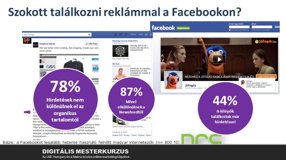 Szokott találkozni reklámmal a Facebookon? 44% 78% Bázis: a Facebookot legalább hetente használó felnőtt magyar internetezők (n= 800 fő) 78% Hirdetése