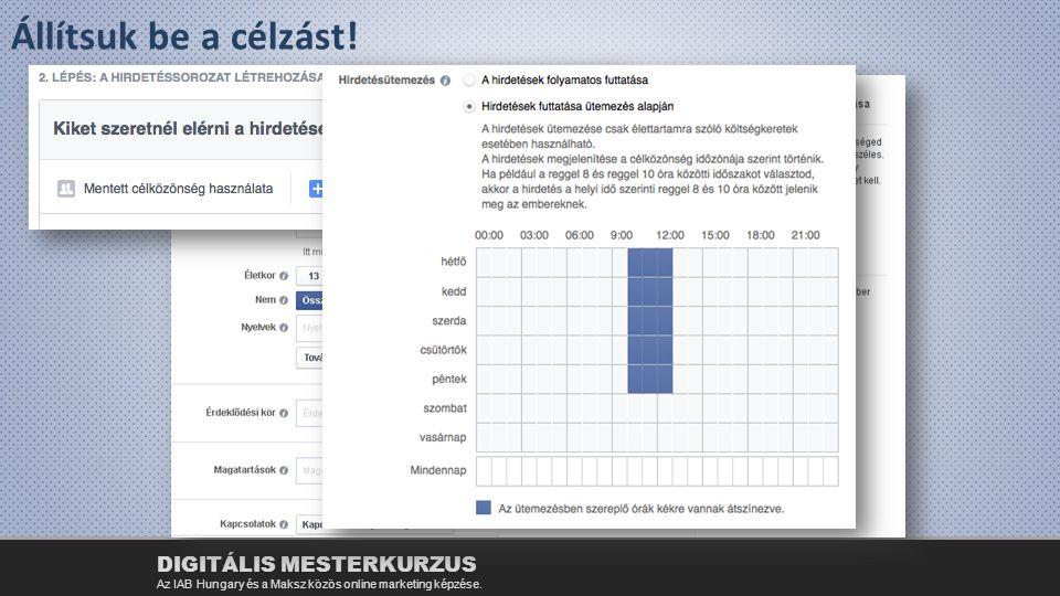 Állítsuk be a célzást! DIGITÁLIS MESTERKURZUS Az IAB Hungary és a Maksz közös online marketing képzése.