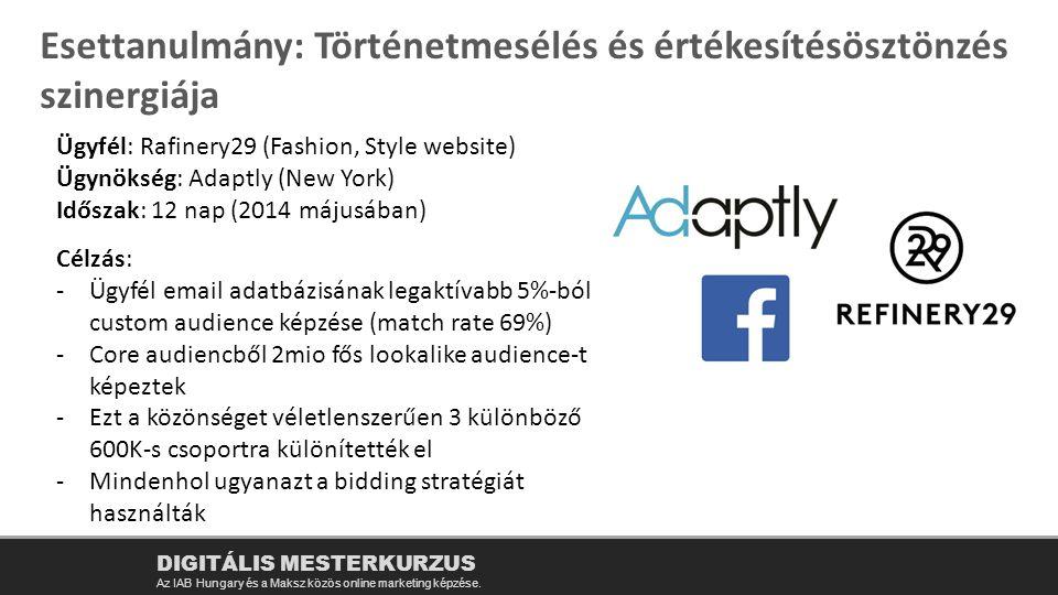 DIGITÁLIS MESTERKURZUS Az IAB Hungary és a Maksz közös online marketing képzése. Esettanulmány: Történetmesélés és értékesítésösztönzés szinergiája Üg