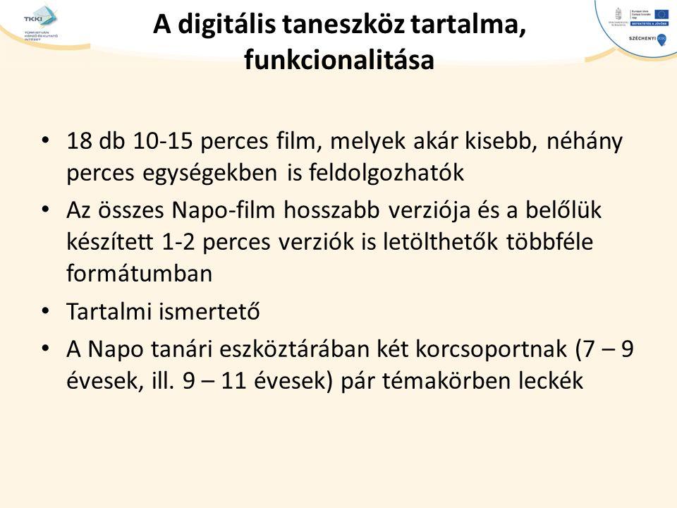cím szöveg – Second level Third level – Fourth level » Fifth level A digitális taneszköz tartalma, funkcionalitása 18 db 10-15 perces film, melyek akár kisebb, néhány perces egységekben is feldolgozhatók Az összes Napo-film hosszabb verziója és a belőlük készített 1-2 perces verziók is letölthetők többféle formátumban Tartalmi ismertető A Napo tanári eszköztárában két korcsoportnak (7 – 9 évesek, ill.