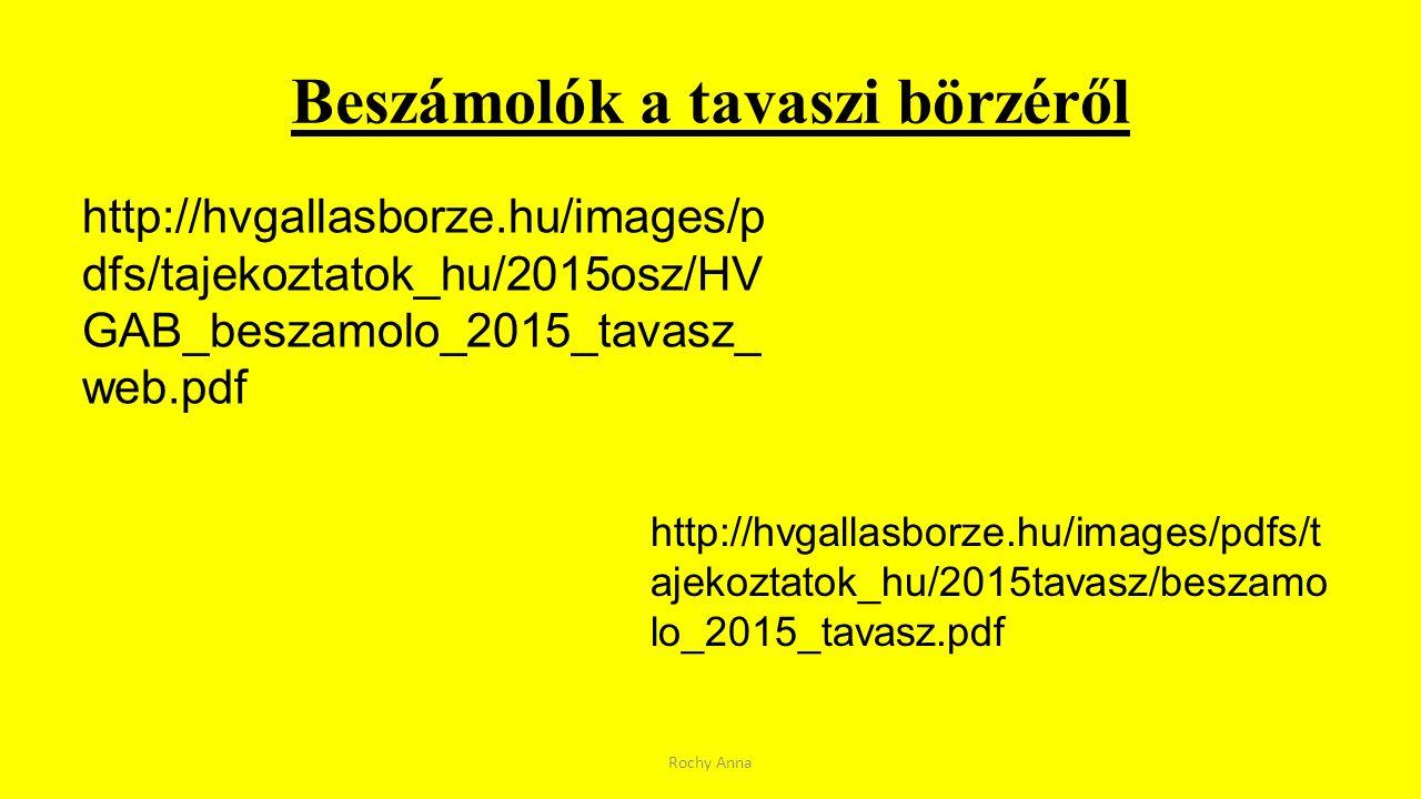 Beszámolók a tavaszi börzéről Rochy Anna http://hvgallasborze.hu/images/p dfs/tajekoztatok_hu/2015osz/HV GAB_beszamolo_2015_tavasz_ web.pdf http://hvg