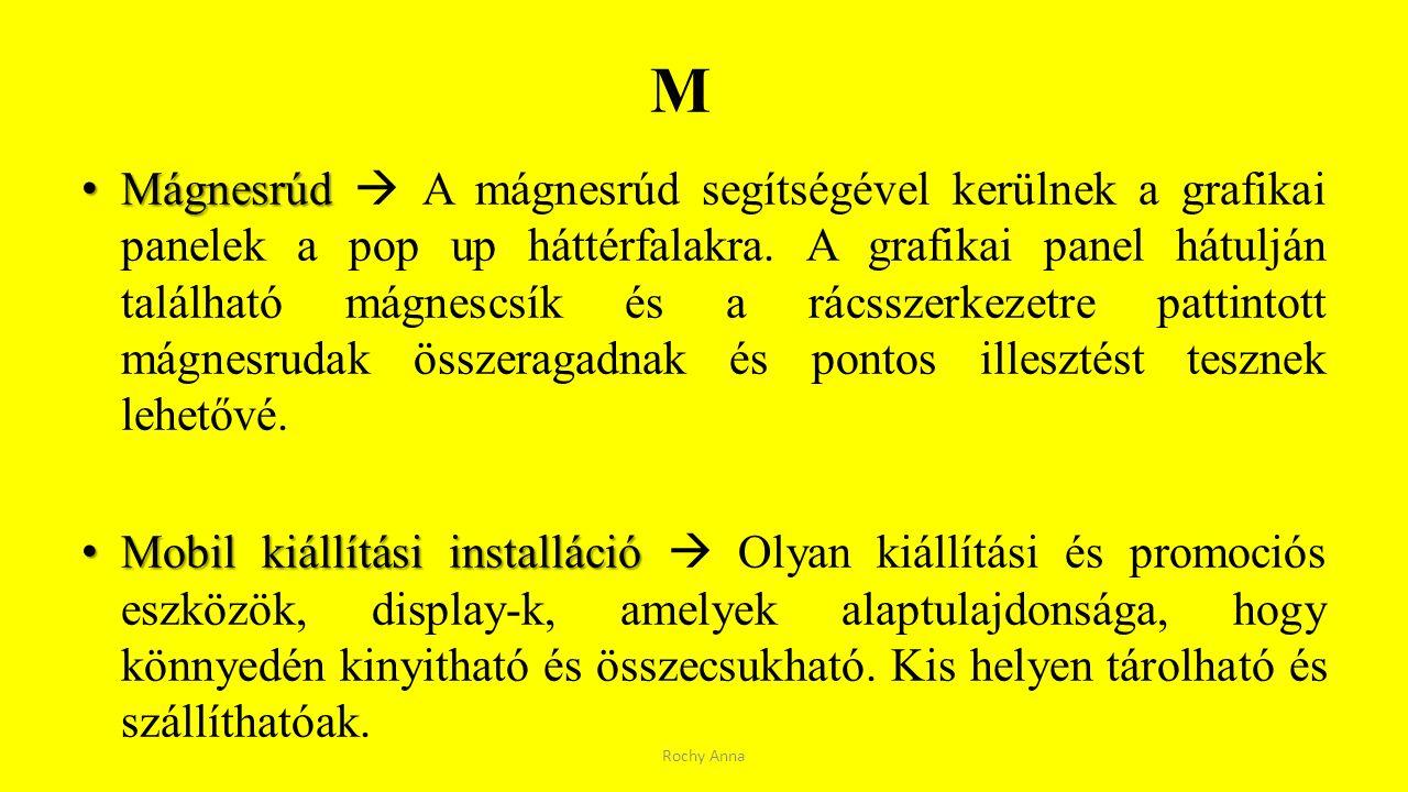 M Mágnesrúd Mágnesrúd  A mágnesrúd segítségével kerülnek a grafikai panelek a pop up háttérfalakra. A grafikai panel hátulján található mágnescsík és