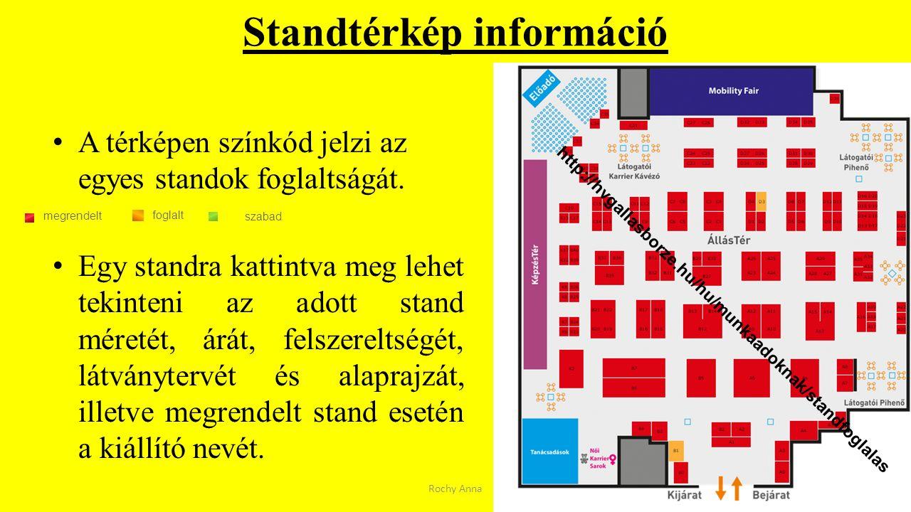 Standtérkép információ A térképen színkód jelzi az egyes standok foglaltságát. Egy standra kattintva meg lehet tekinteni az adott stand méretét, árát,