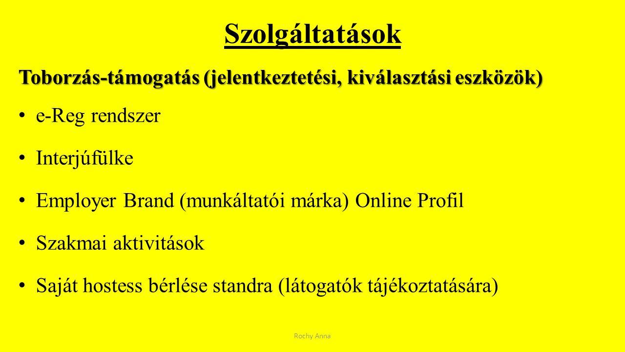 Szolgáltatások Toborzás-támogatás (jelentkeztetési, kiválasztási eszközök) e-Reg rendszer Interjúfülke Employer Brand (munkáltatói márka) Online Profi