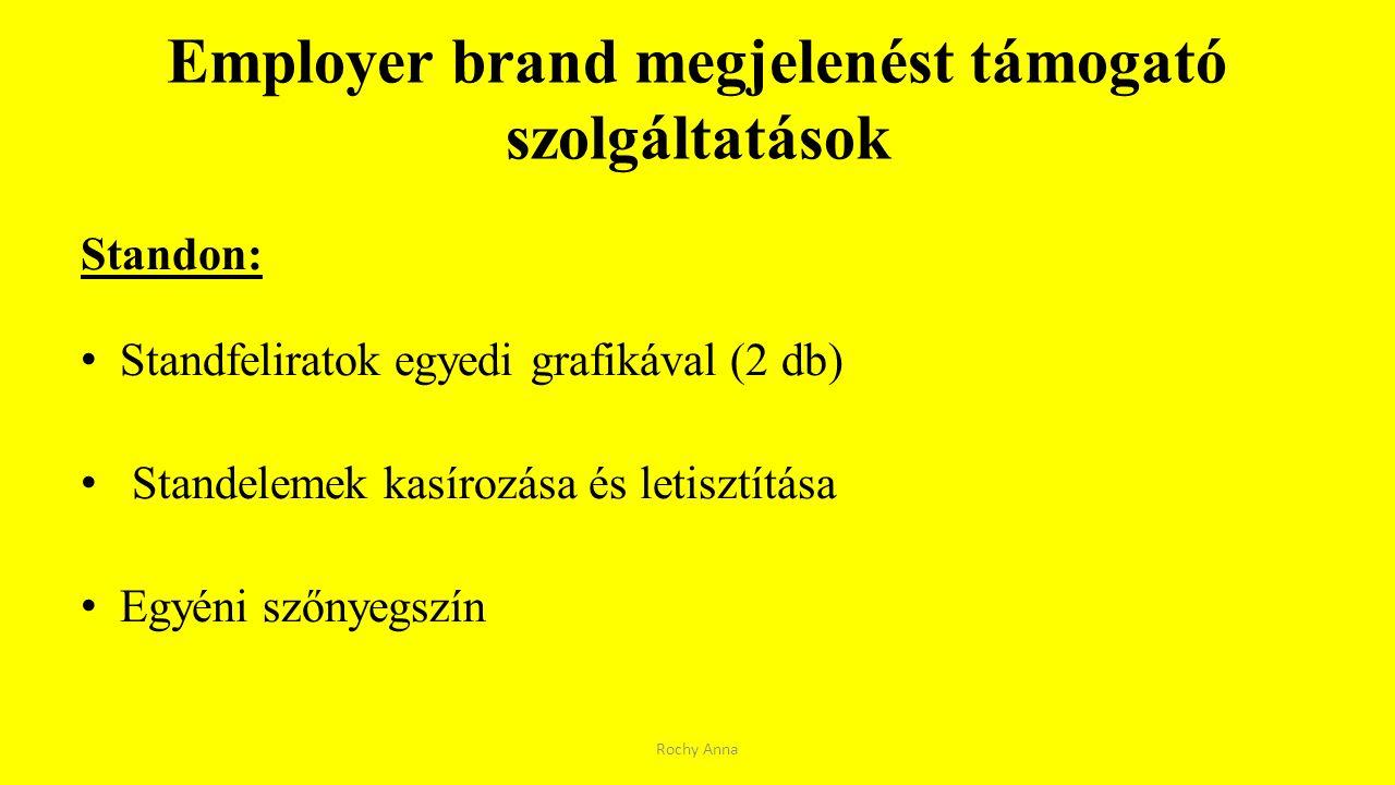 Employer brand megjelenést támogató szolgáltatások Standon: Standfeliratok egyedi grafikával (2 db) Standelemek kasírozása és letisztítása Egyéni szőn