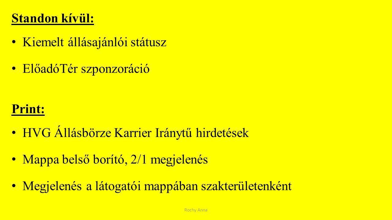 Standon kívül: Kiemelt állásajánlói státusz ElőadóTér szponzoráció Print: HVG Állásbörze Karrier Iránytű hirdetések Mappa belső borító, 2/1 megjelenés
