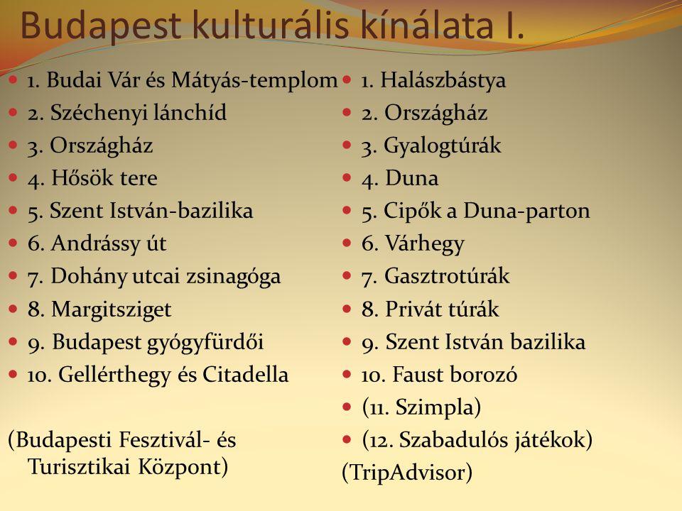 Budapest kulturális kínálata I. 1. Budai Vár és Mátyás-templom 2.