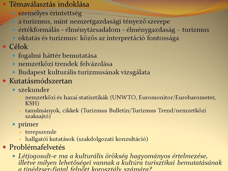 Témaválasztás indoklása személyes érintettség a turizmus, mint nemzetgazdasági tényező szerepe értékformálás - élménytársadalom - élménygazdaság – turizmus oktatás és turizmus: közös az interpretáció fontossága Célok fogalmi háttér bemutatása nemzetközi trendek felvázolása Budapest kulturális turizmusának vizsgálata Kutatásmódszertan szekunder nemzetközi és hazai statisztikák (UNWTO, Euromonitor/Eurobarometer, KSH) tanulmányok, cikkek (Turizmus Bulletin/Turizmus Trend/nemzetközi szaksajtó) primer terepszemle hallgatói kutatások (szakdolgozati konzultáció) Problémafelvetés Létjogosult-e ma a kulturális örökség hagyományos értelmezése, illetve milyen lehetőségei vannak a kultúra turisztikai bemutatásának a tinédzser-fiatal felnőtt korosztály számára