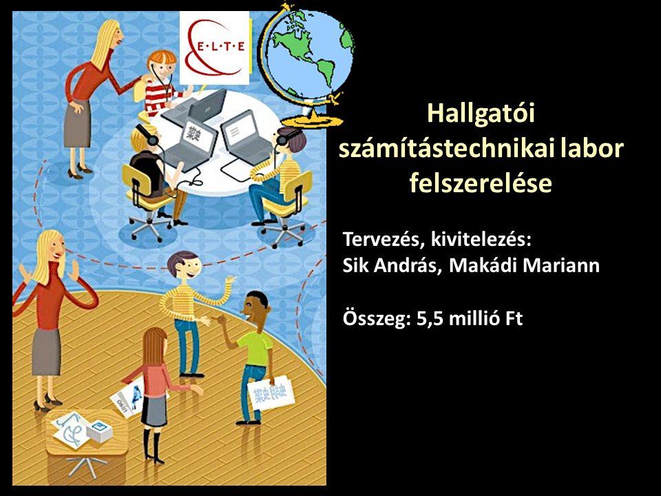 Hallgatói számítástechnikai labor felszerelése Tervezés, kivitelezés: Sik András, Makádi Mariann Összeg: 5,5 millió Ft