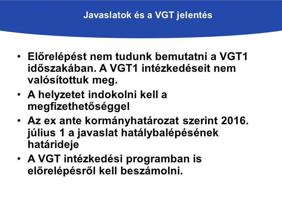Javaslatok és a VGT jelentés Előrelépést nem tudunk bemutatni a VGT1 időszakában.