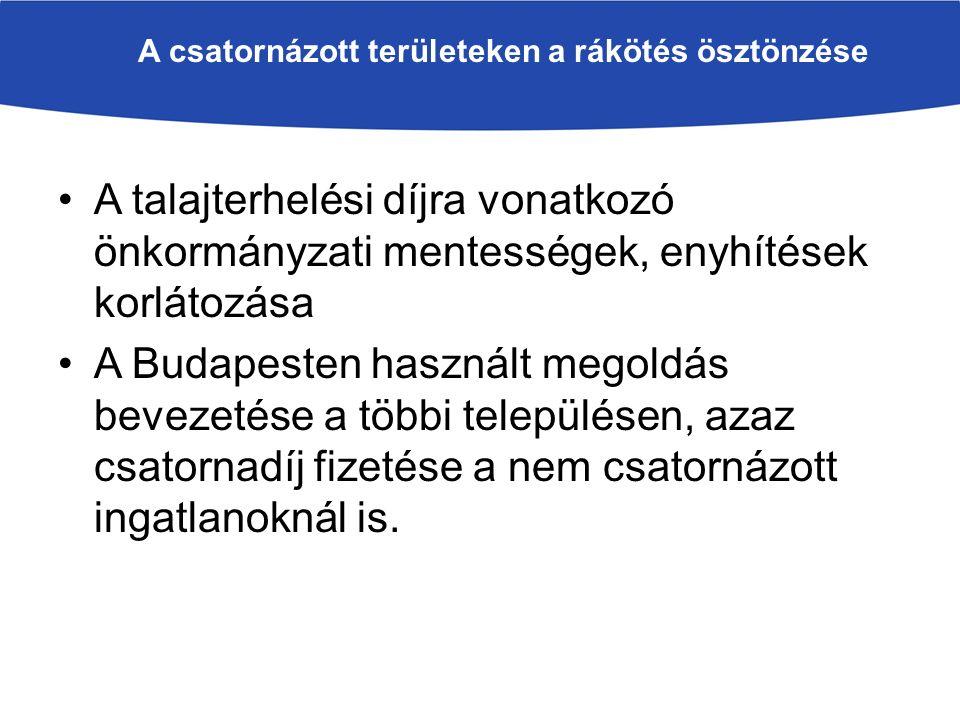 A csatornázott területeken a rákötés ösztönzése A talajterhelési díjra vonatkozó önkormányzati mentességek, enyhítések korlátozása A Budapesten használt megoldás bevezetése a többi településen, azaz csatornadíj fizetése a nem csatornázott ingatlanoknál is.