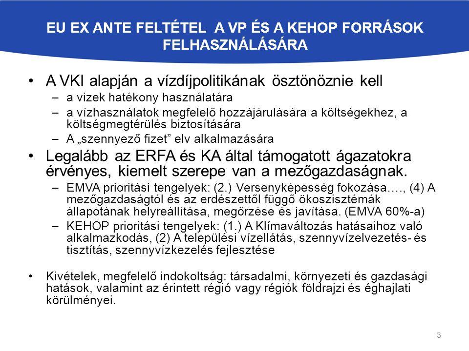 """EU EX ANTE FELTÉTEL A VP ÉS A KEHOP FORRÁSOK FELHASZNÁLÁSÁRA A VKI alapján a vízdíjpolitikának ösztönöznie kell –a vizek hatékony használatára –a vízhasználatok megfelelő hozzájárulására a költségekhez, a költségmegtérülés biztosítására –A """"szennyező fizet elv alkalmazására Legalább az ERFA és KA által támogatott ágazatokra érvényes, kiemelt szerepe van a mezőgazdaságnak."""