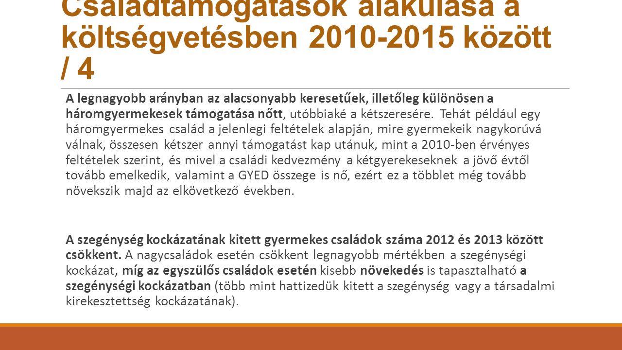 Családtámogatások alakulása a költségvetésben 2010-2015 között / 4 A legnagyobb arányban az alacsonyabb keresetűek, illetőleg különösen a háromgyermek