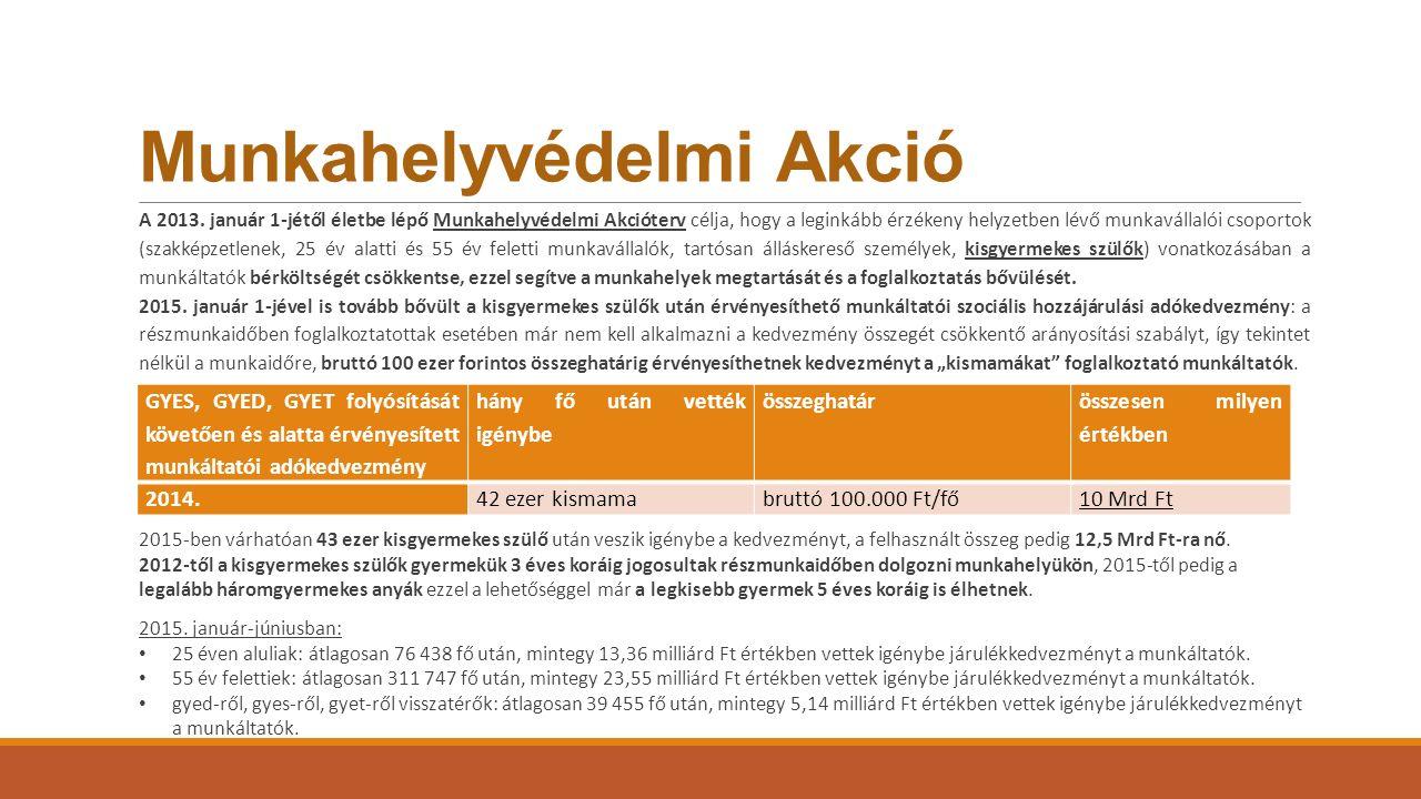 Munkahelyvédelmi Akció A 2013. január 1-jétől életbe lépő Munkahelyvédelmi Akcióterv célja, hogy a leginkább érzékeny helyzetben lévő munkavállalói cs