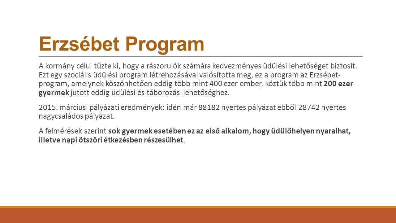 Erzsébet Program A kormány célul tűzte ki, hogy a rászorulók számára kedvezményes üdülési lehetőséget biztosít. Ezt egy szociális üdülési program létr