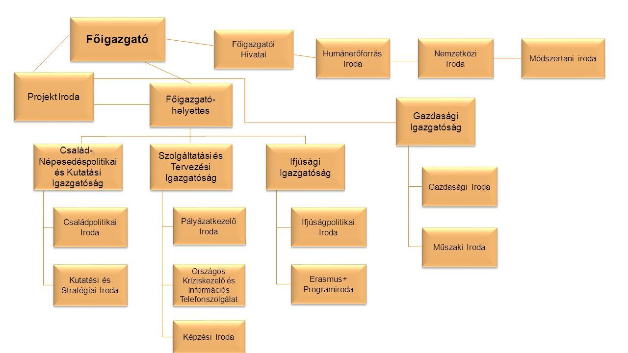 Főigazgató Főigazgatói Hivatal Humánerőforrás Iroda Nemzetközi Iroda Módszertani iroda Projekt Iroda Főigazgató- helyettes Gazdasági Igazgatóság Gazda