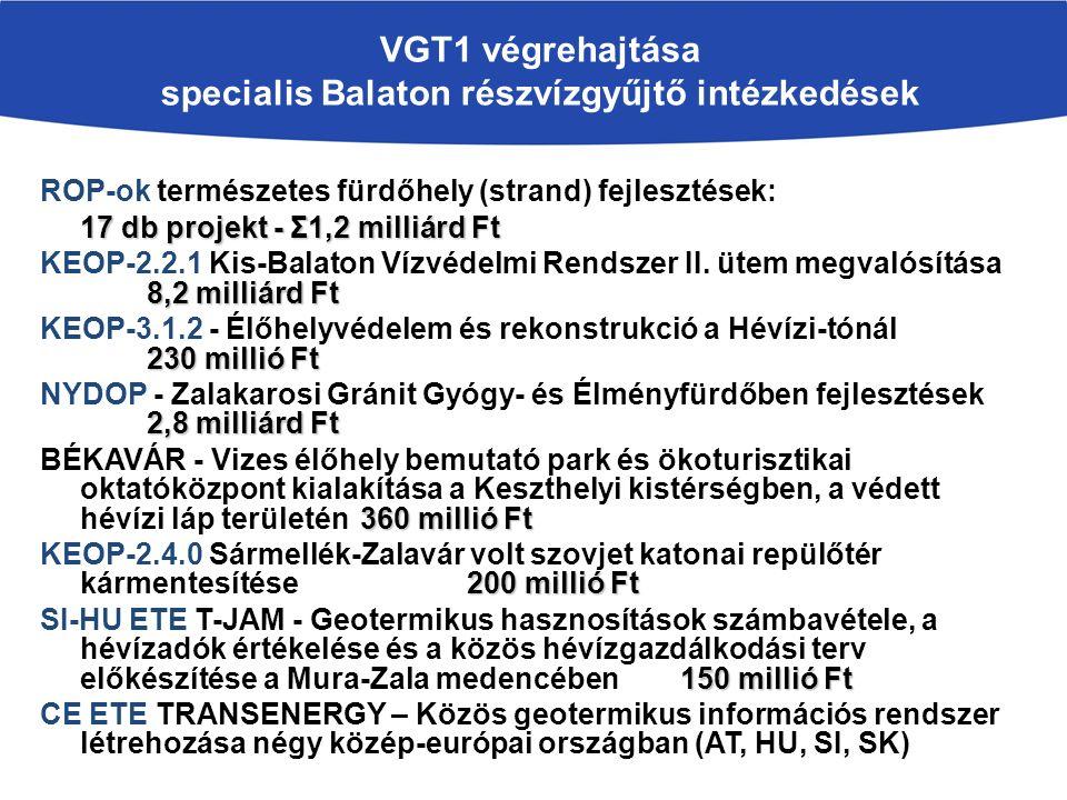 VGT1 végrehajtása specialis Balaton részvízgyűjtő intézkedések ROP-ok természetes fürdőhely (strand) fejlesztések: 17 db projekt - Σ1,2 milliárd Ft 8,