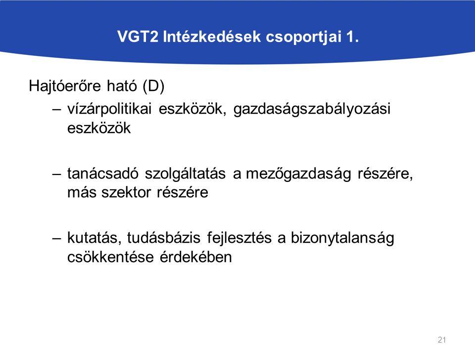 VGT2 Intézkedések csoportjai 1. Hajtóerőre ható (D) –vízárpolitikai eszközök, gazdaságszabályozási eszközök –tanácsadó szolgáltatás a mezőgazdaság rés