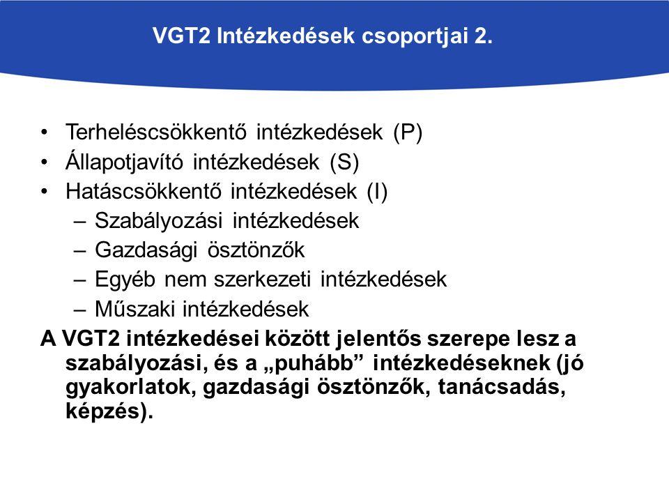VGT2 Intézkedések csoportjai 2. Terheléscsökkentő intézkedések (P) Állapotjavító intézkedések (S) Hatáscsökkentő intézkedések (I) –Szabályozási intézk