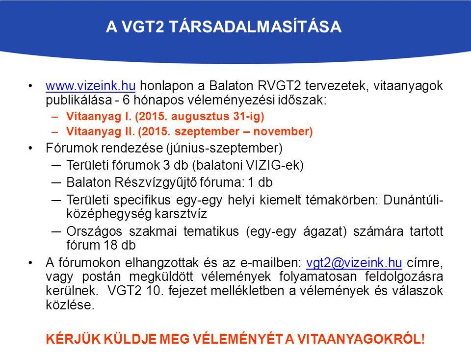 A VGT2 TÁRSADALMASÍTÁSA www.vizeink.hu honlapon a Balaton RVGT2 tervezetek, vitaanyagok publikálása - 6 hónapos véleményezési időszak:www.vizeink.hu –