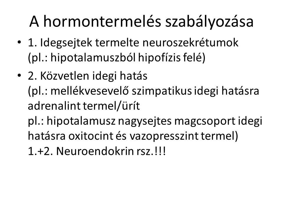 A hormontermelés szabályozása 1. Idegsejtek termelte neuroszekrétumok (pl.: hipotalamuszból hipofízis felé) 2. Közvetlen idegi hatás (pl.: mellékvesev