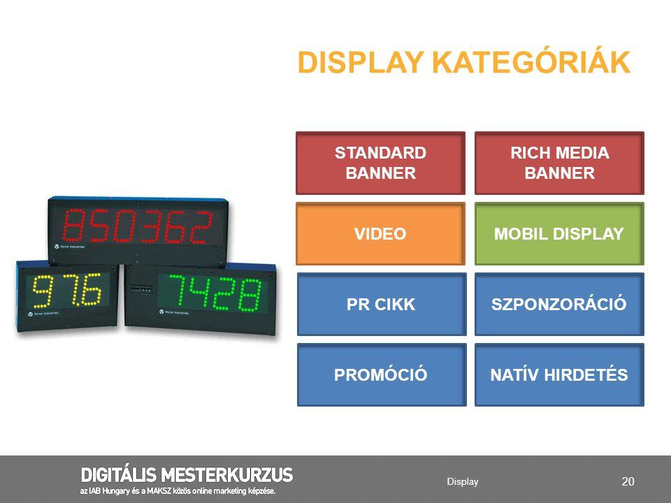 20 DISPLAY KATEGÓRIÁK MOBIL DISPLAYVIDEO STANDARD BANNER RICH MEDIA BANNER NATÍV HIRDETÉSPROMÓCIÓ PR CIKKSZPONZORÁCIÓ Display