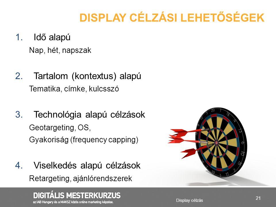 21 Display célzás DISPLAY CÉLZÁSI LEHETŐSÉGEK 1.Idő alapú Nap, hét, napszak 2.Tartalom (kontextus) alapú Tematika, címke, kulcsszó 3.Technológia alapú