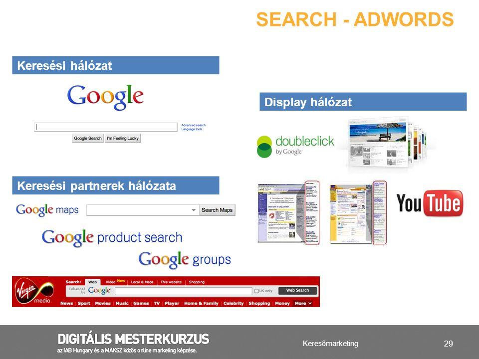 29 Keresőmarketing SEARCH - ADWORDS Keresési hálózat Display hálózat Keresési partnerek hálózata
