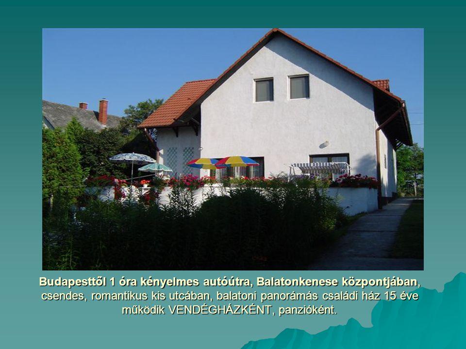Budapesttől 1 óra kényelmes autóútra, Balatonkenese központjában, csendes, romantikus kis utcában, balatoni panorámás családi ház 15 éve működik VENDÉGHÁZKÉNT, panzióként.