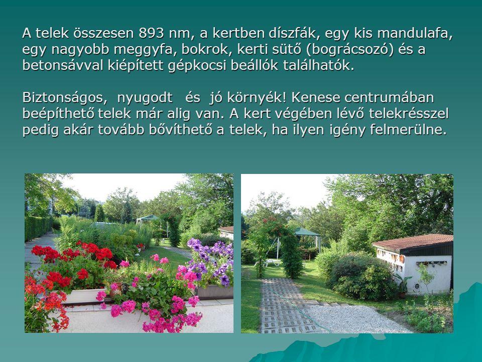 A telek összesen 893 nm, a kertben díszfák, egy kis mandulafa, egy nagyobb meggyfa, bokrok, kerti sütő (bográcsozó) és a betonsávval kiépített gépkocsi beállók találhatók.
