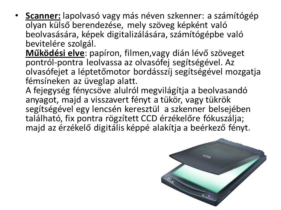 Scanner: lapolvasó vagy más néven szkenner: a számítógép olyan külső berendezése, mely szöveg képként való beolvasására, képek digitalizálására, számí