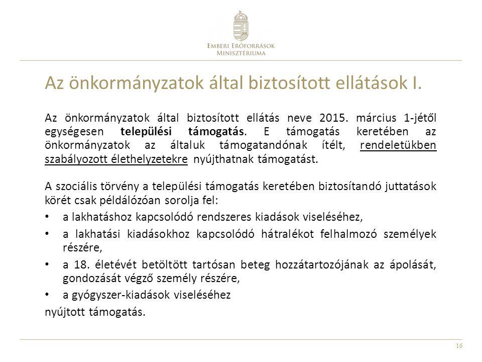 16 Az önkormányzatok által biztosított ellátások I. Az önkormányzatok által biztosított ellátás neve 2015. március 1-jétől egységesen települési támog