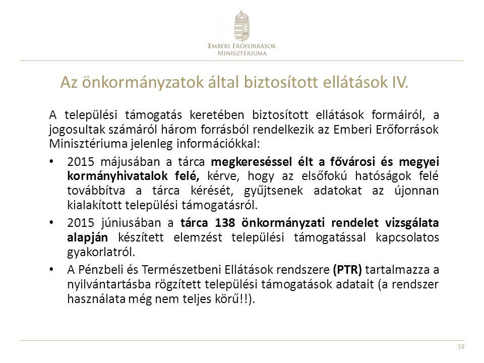 19 Az önkormányzatok által biztosított ellátások IV. A települési támogatás keretében biztosított ellátások formáiról, a jogosultak számáról három for