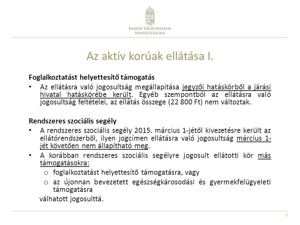 16 Az önkormányzatok által biztosított ellátások I.