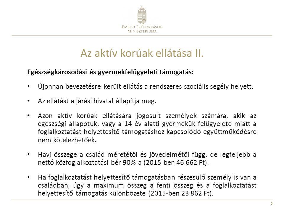17 Az önkormányzatok által biztosított ellátások II.