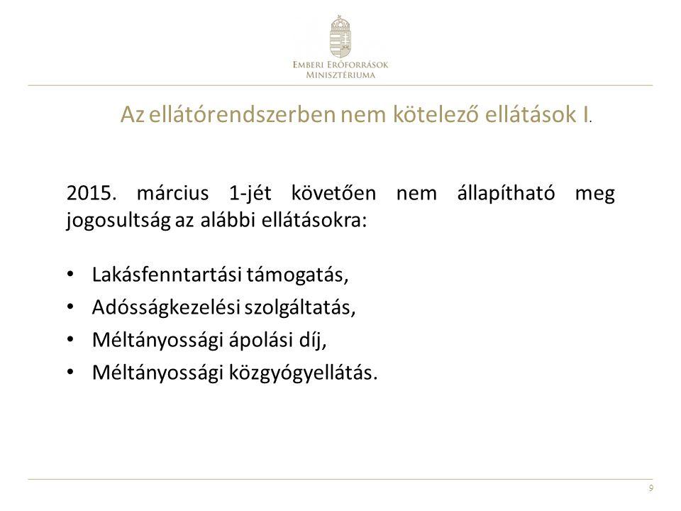 9 Az ellátórendszerben nem kötelező ellátások I. 2015. március 1-jét követően nem állapítható meg jogosultság az alábbi ellátásokra: Lakásfenntartási