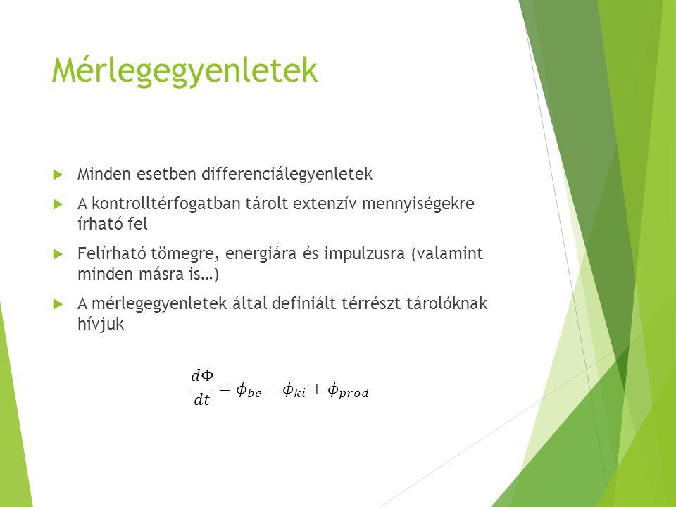 Mérlegegyenletek  Minden esetben differenciálegyenletek  A kontrolltérfogatban tárolt extenzív mennyiségekre írható fel  Felírható tömegre, energiá