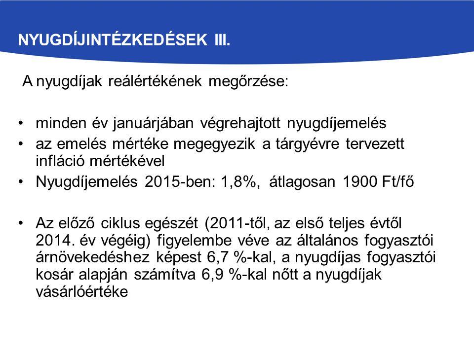 NYUGDÍJINTÉZKEDÉSEK III. A nyugdíjak reálértékének megőrzése: minden év januárjában végrehajtott nyugdíjemelés az emelés mértéke megegyezik a tárgyévr