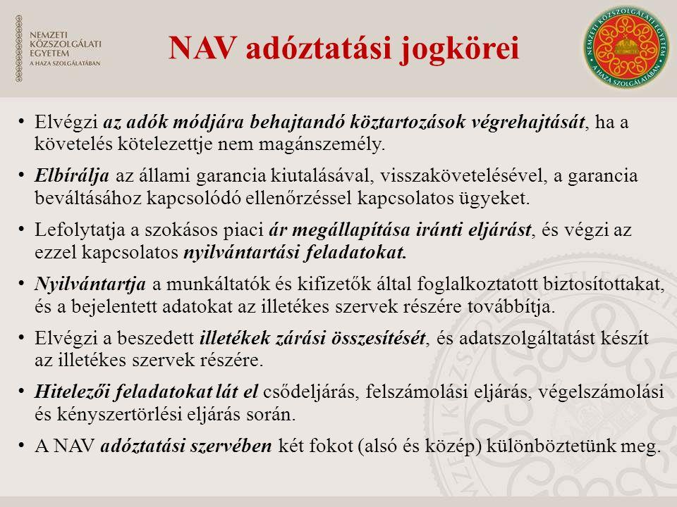 NAV adóztatási jogkörei Elvégzi az adók módjára behajtandó köztartozások végrehajtását, ha a követelés kötelezettje nem magánszemély. Elbírálja az áll
