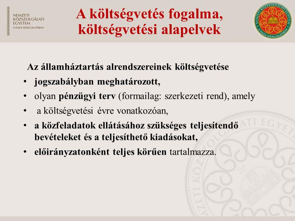 A költségvetés fogalma, költségvetési alapelvek Az államháztartás alrendszereinek költségvetése jogszabályban meghatározott, olyan pénzügyi terv (form