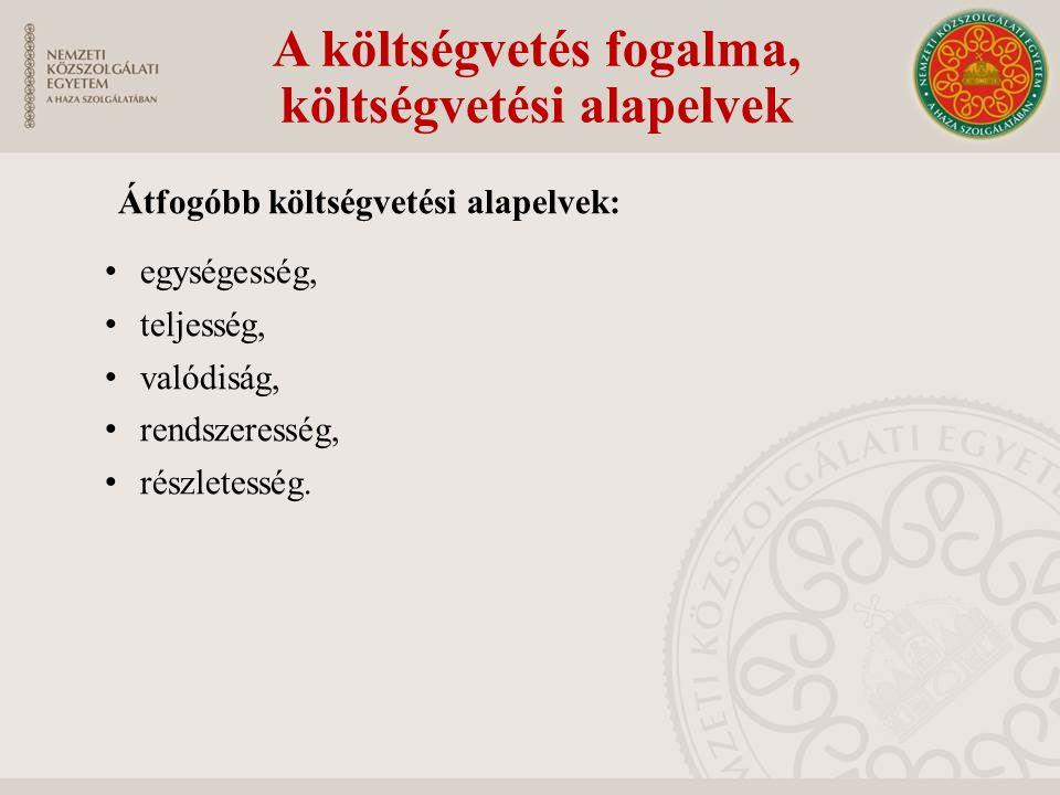 Átfogóbb költségvetési alapelvek: egységesség, teljesség, valódiság, rendszeresség, részletesség. A költségvetés fogalma, költségvetési alapelvek