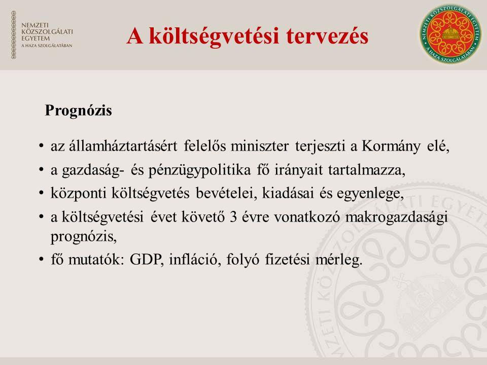 A költségvetési tervezés Prognózis az államháztartásért felelős miniszter terjeszti a Kormány elé, a gazdaság- és pénzügypolitika fő irányait tartalma