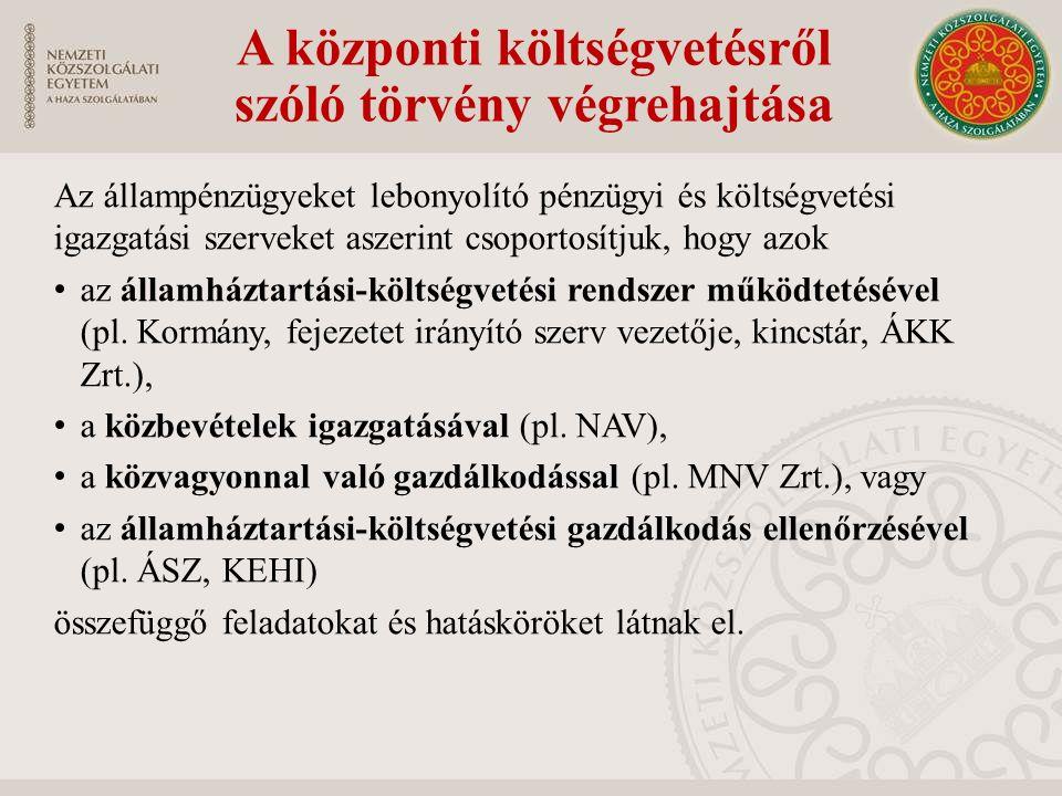 A központi költségvetésről szóló törvény végrehajtása Az állampénzügyeket lebonyolító pénzügyi és költségvetési igazgatási szerveket aszerint csoporto