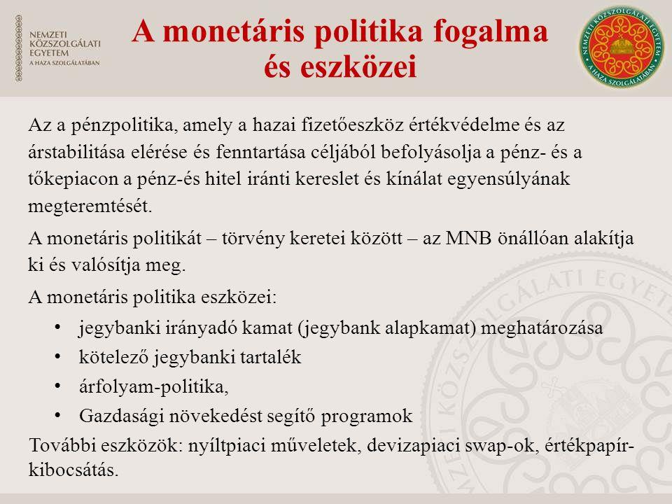 A monetáris politika fogalma és eszközei Az a pénzpolitika, amely a hazai fizetőeszköz értékvédelme és az árstabilitása elérése és fenntartása céljábó